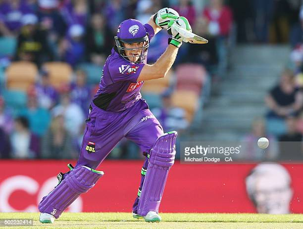 Tim Paine of the Hurricanes bats during the Big Bash League match between Hobart Hurricanes and Brisbane Heat at Blundstone Arena on December 22 2015...