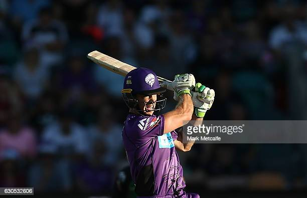 Tim Paine of the Hurricanes bats during the Big Bash League match between the Hobart Hurricanes and Sydney Stars at Blundstone Arena on December 26...