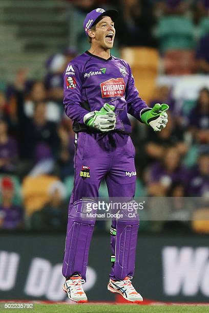 Tim Paine of the Hurricanes celebrates catching out Lendl Simmons of the Heat bats during the Big Bash League match between Hobart Hurricanes and...
