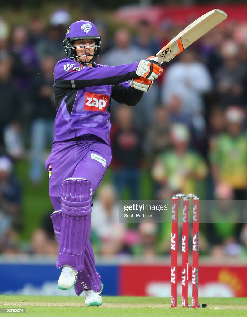 Tim Paine of the Hurricanes hits a boundary during the Big Bash League match between the Hobart Hurricanes and the Sydney Sixers at Blundstone Arena...