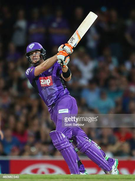 Tim Paine of the Hurricanes hits a six during the Big Bash League match between the Hobart Hurricanes and the Brisbane Heat at Blundstone Arena on...