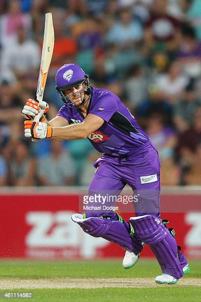 Tim Paine of the Hurricanes hits the ball during the Big Bash League match between the Hobart Hurricanes and the Melbourne Renegades at Blundstone...