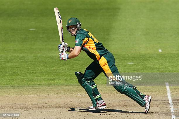 Tim Paine of the Tigers bats during the Matador BBQs One Day Cup match between Tasmania and South Australia at North Sydney Oval on October 22 2014...