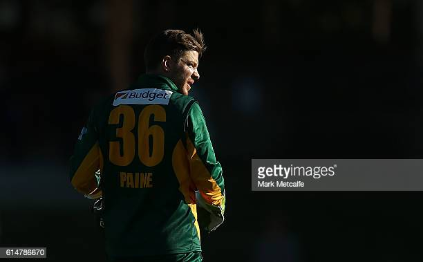 Tim Paine of the Tigers looks on during the Matador BBQs One Day Cup match between Tasmania and Western Australia at North Sydney Oval on October 15...