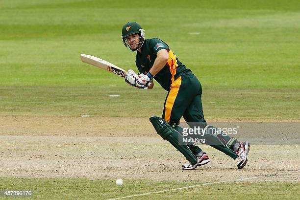 Tim Paine of the Tigers plays on the on side during the Matador BBQs One Day Cup match between Queensland and Tasmania at North Sydney Oval on...
