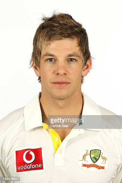 Tim Paine poses for a portrait during the official Australian Test cricket team headshots session on November 28 2011 in Brisbane Australia