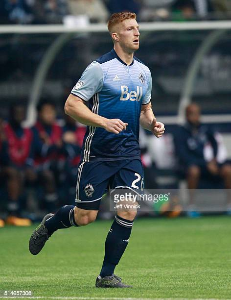 Tim Parker of the Vancouver Whitecaps runs up field during their MLS game against the Montreal Impact March 6 2016 at BC Place in Vancouver British...