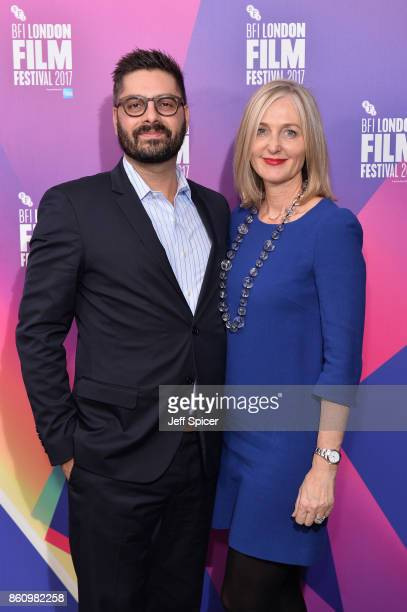 Tim Pastore and Deborah Armstrong arrive at the European premiere of 'Jane' during the 61st BFI London Film Festival at Picturehouse Central on...