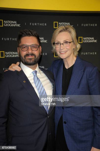 Tim Pastore and Jane Lynch attend National Geographic FURTHER FRONT at Jazz at Lincoln Center's Frederick P Rose Hall on April 19 2017 in New York...