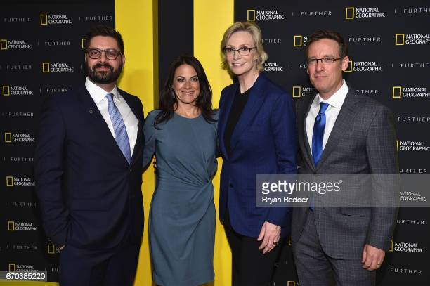 Tim Pastore Courteney Monroe Jane Lynch and Geoff Daniels at National Geographic's Further Front Event at Jazz at Lincoln Center on April 19 2017 in...