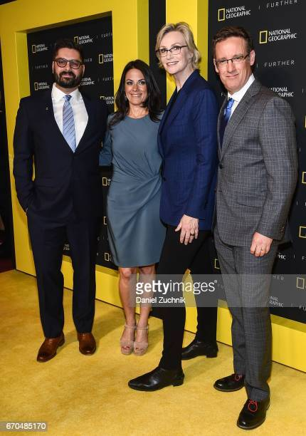 Tim Pastore Courteney Monroe Jane Lynch and Geoff Daniels attends the 2017 National Geographic FURTHER FRONT at Jazz at Lincoln Center's Frederick P...