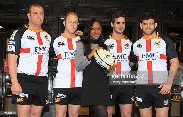 Tim Payne Joe Simpson Alexandra Burke Danny Cipriani and Rob Webber attend photocall to launch the St Georges Day Rugby Match between London Wasps...