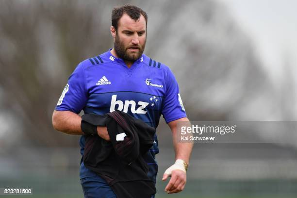 Tim Perry looks on during a Crusaders Super Rugby training session at Rugby Park on July 27 2017 in Christchurch New Zealand