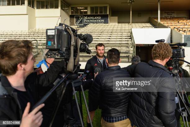 Tim Perry speaks to the media during a Crusaders media conference at Rugby Park on July 24 2017 in Christchurch New Zealand