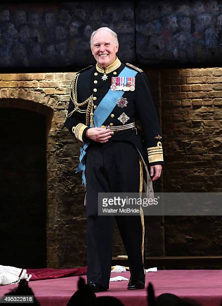 Tim PigottSmith during the Broadway opening night performance curtain call bows for 'King Charles III' at the Music Box Theatre on November 1 2015 in...
