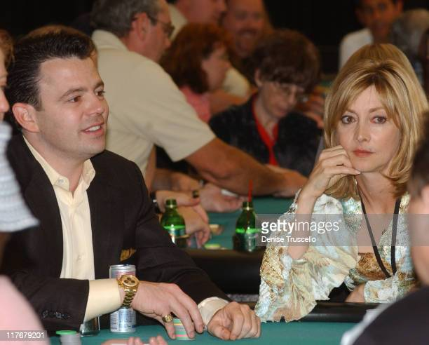 Tim Poster and Sharon Lawrence during Celebrity Poker Tournement to Benefit Professional Comedians Fund at The Golder Nugget in Las Vegas Nevada