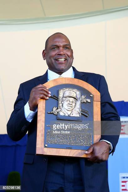 Tim Raines pose for a photo at Clark Sports Center during the Baseball Hall of Fame induction ceremony on July 30 2017 in Cooperstown New York