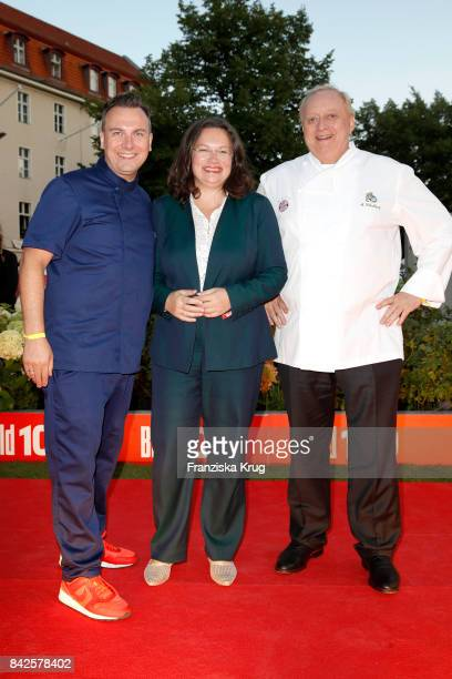 Tim Raue Andrea Nahles and Alfons Schubeck attend the BILD100 event at Axel Springer Haus on September 4 2017 in Berlin Germany