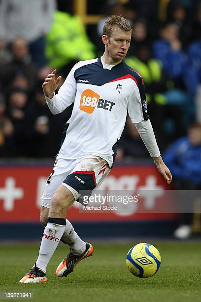 Tim Ream of Bolton on the ball during the FA Cup fifth round match between Millwall and Bolton Wanderers at The Den on February 18 2012 in London...