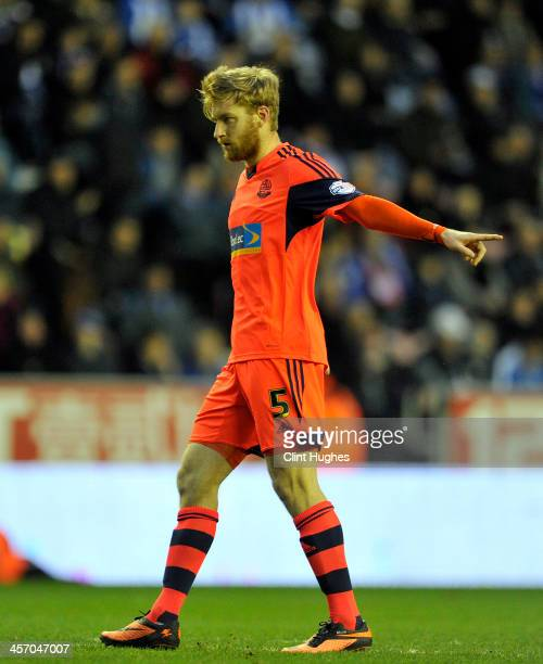 Tim Ream of Bolton Wanderers during the Sky Bet Championship match between Wigan Athletic and Bolton Wanderers at the DW Stadium on December 15 2013...