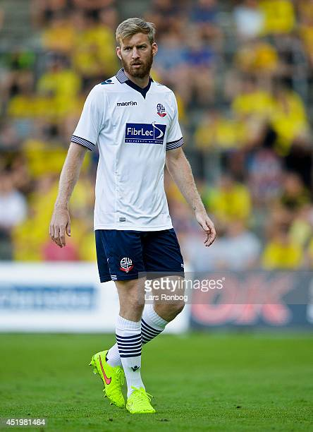 Tim Ream of Bolton Wanderers looks on the PreSeason Friendly match between Brondby IF and Bolton Wanderers on Brondby Stadion on July 10 2014 in...