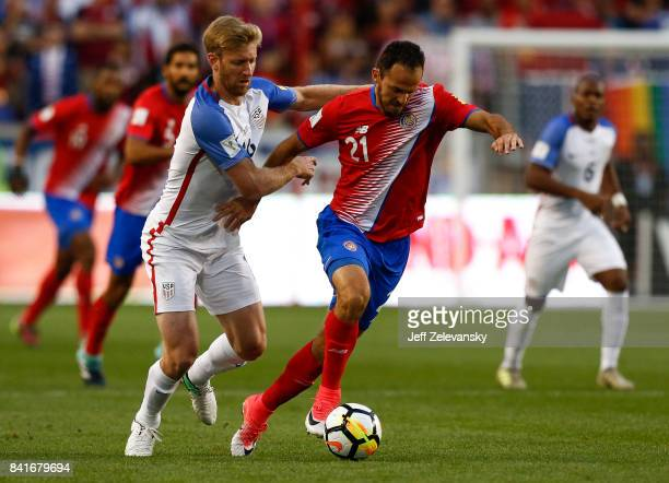 Tim Ream of the United States fights for the ball with Marcos Urea of Costa Rica during their match at Red Bull Arena on September 1 2017 in Harrison...