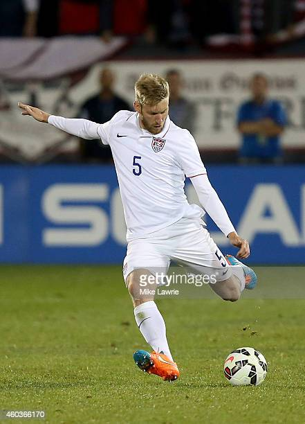 Tim Ream of the United States kicks the ball against Ecuador during an international friendly at Rentschler Field on October 10 2014 in East Hartford...