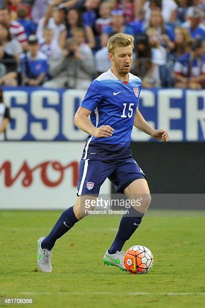 Tim Ream of the United States Men's National team plays against Guatemala in an international friendly match at Nissan Stadium on July 3 2015 in...