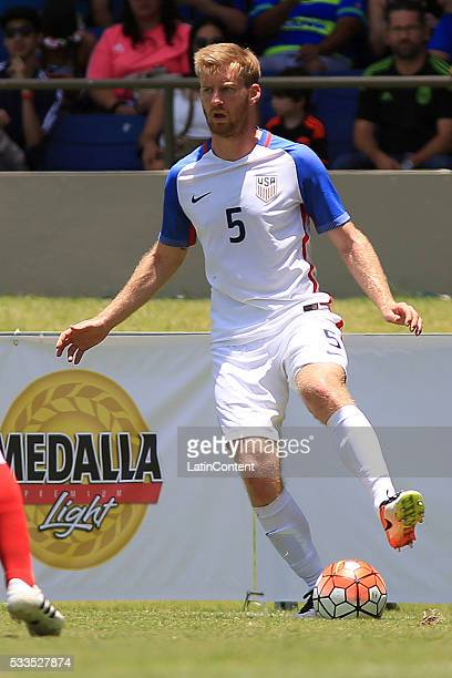 Tim Ream of USA controls the ball during an international friendly match between Puerto Rico and USA at Juan Ramon Loubriel Stadium on May 22 2016 in...