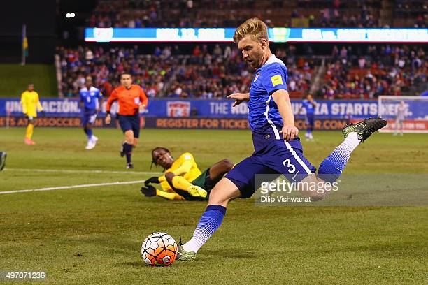 Tim Ream passes the ball against St Vincent and the Grenadines during a World Cup qualifying match at Busch Stadium on November 13 2014 in St Louis...