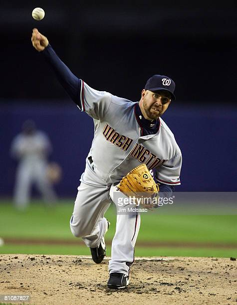 Tim Redding of the Washington Nationals pitches against the New York Mets on May 14 2008 at Shea Stadium in the Flushing neighborhood of the Queens...