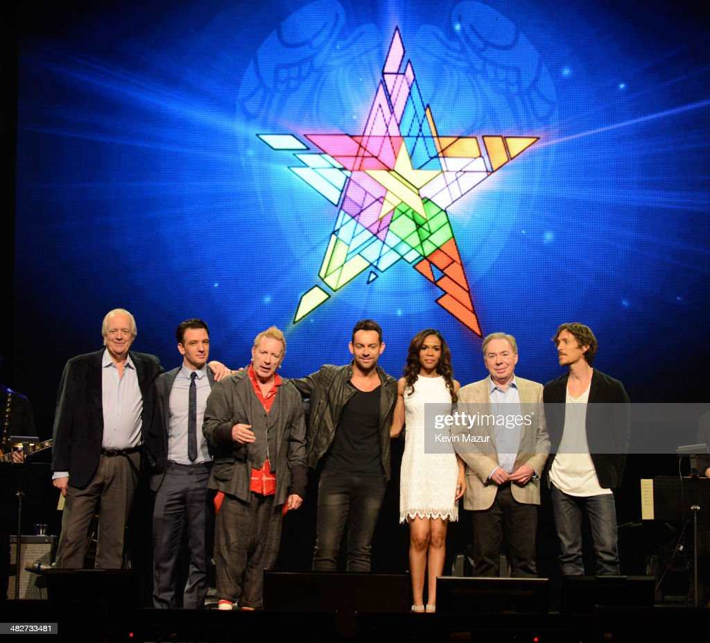Tim Rice JC Chasez Ben Forster Michelle Williams Andrew Lloyd Webber and Brandon Boyd pose onstage during the press conference for Jesus Christ...
