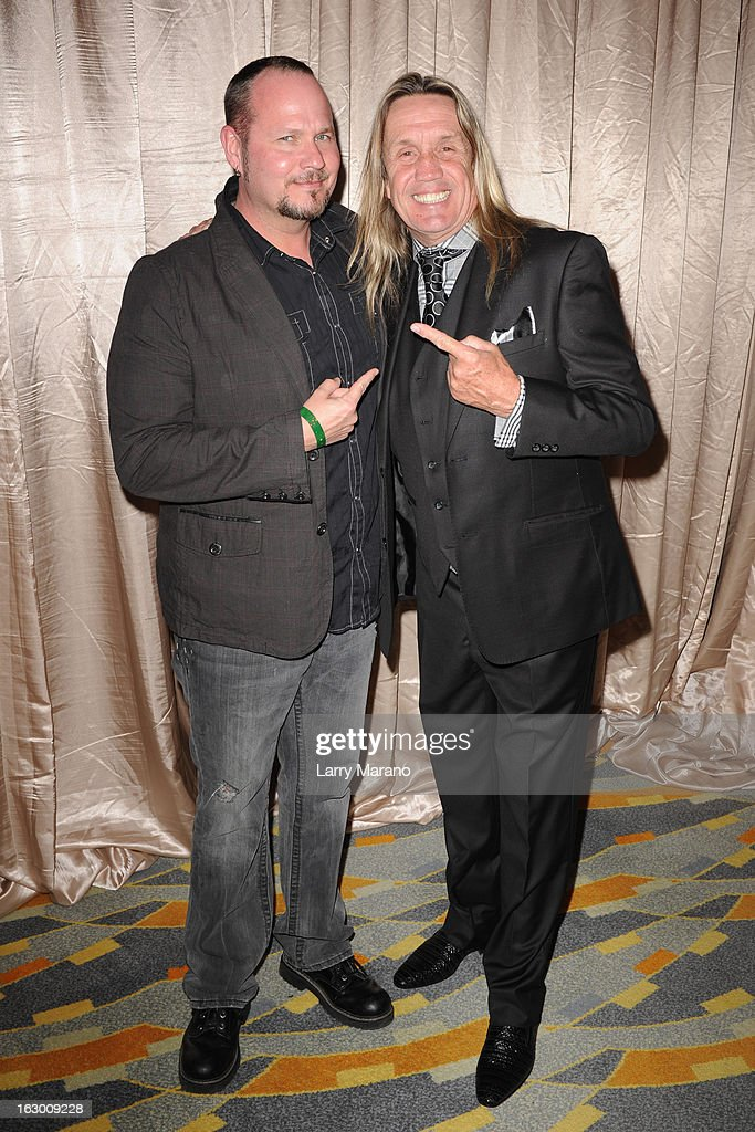 Tim Ripper Owens and <a gi-track='captionPersonalityLinkClicked' href=/galleries/search?phrase=Nicko+McBrain&family=editorial&specificpeople=2035333 ng-click='$event.stopPropagation()'>Nicko McBrain</a> attend Classic Rock And Roll Party to benefit HomeSafe at Seminole Hard Rock Hotel on March 2, 2013 in Hollywood, Florida.