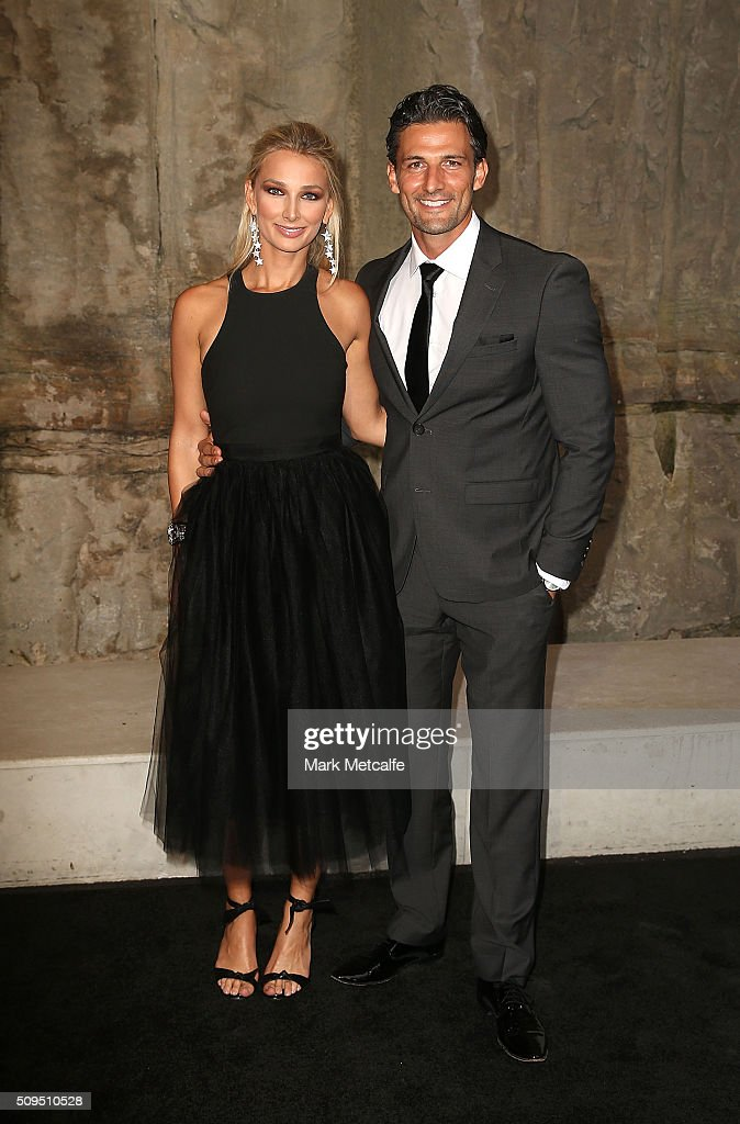 Tim Robards and Anna Heinrich arrive ahead of the Myer AW16 Fashion Launch on February 11, 2016 in Sydney, Australia.