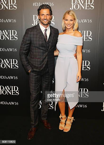 Tim Robards and Anna Heinrich arrives ahead of the David Jones Autumn/Winter 2016 Fashion Launch at David Jones Elizabeth Street Store on February 3...