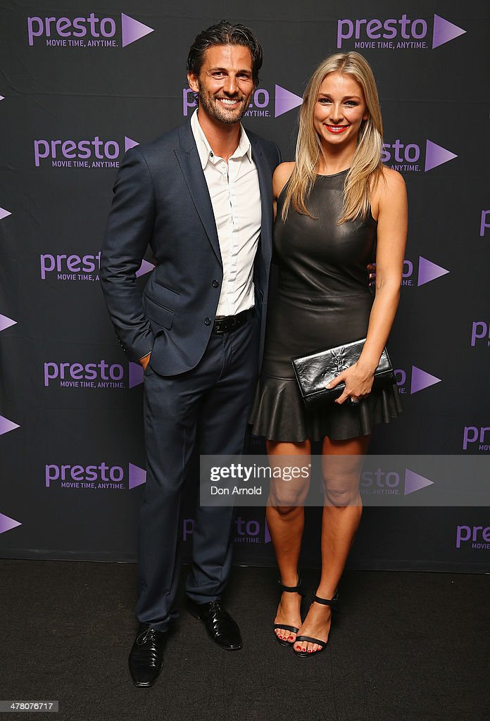 Tim Robards and Anna Heinrich pose at the Foxtel Presto launch at the Ivy on March 12, 2014 in Sydney, Australia.