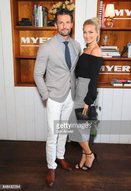 Tim Robards and Anna Heinrich pose at the Myer Autumn Racing Collection Launch at the Centennial Hotel on March 6 2017 in Sydney Australia