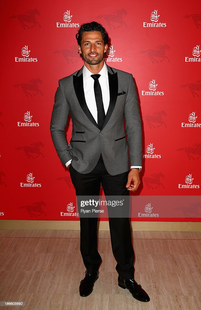 Tim Robards arrives on Victoria Derby Day at Flemington Racecourse on November 2, 2013 in Melbourne, Australia.
