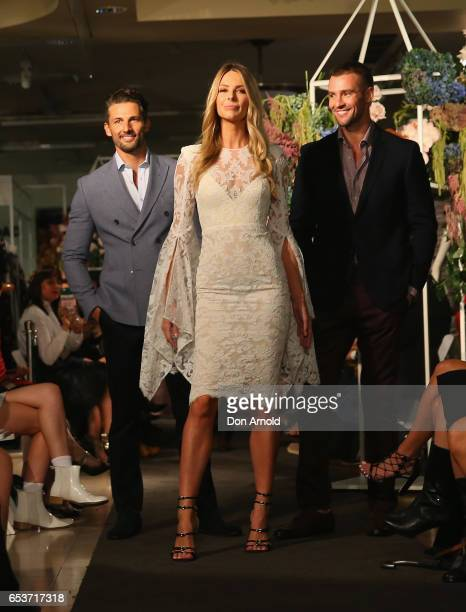 Tim Robards Jennifer Hawkins and Kris Smith showcase designs during the Myer Fashion Runway show on March 16 2017 in Sydney Australia