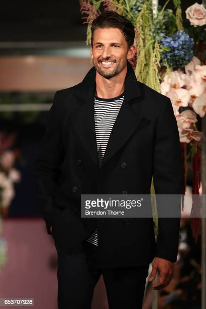 Tim Robards showcases designs by Blaq during the Myer Fashion Runway show on March 16 2017 in Sydney Australia