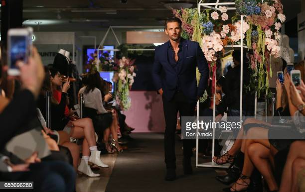 Tim Robards showcases designs during the Myer Fashion Runway show on March 16 2017 in Sydney Australia