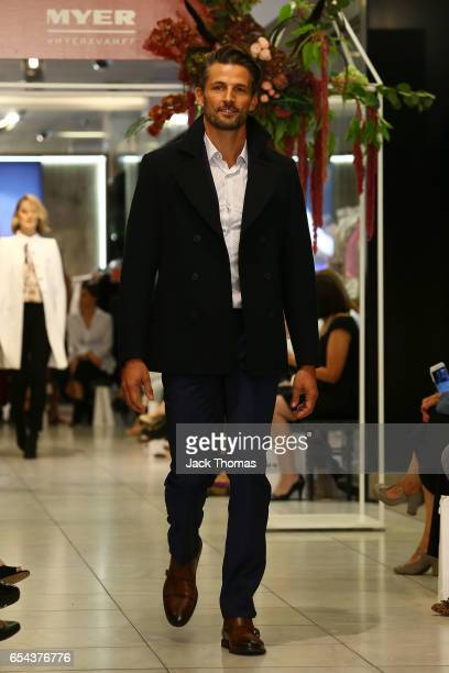 Tim Robards showcases designs during the Myer Fashion Runway show on March 17 2017 in Melbourne Australia