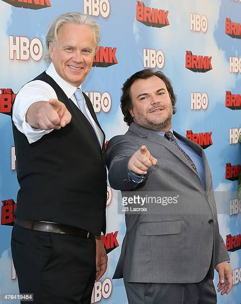 Tim Robbins and Jack Black arrive at the Premiere of HBO's 'The Brink' at the Paramount Theater at Paramount Studios on June 8 2015 in Hollywood...