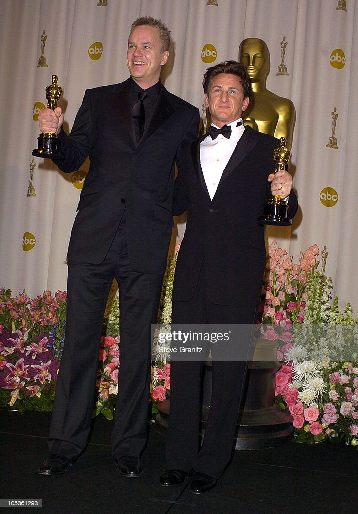 Tim Robbins and Sean Penn, winners of Best Supporting Actor and Best Actor for 'Mystic River'