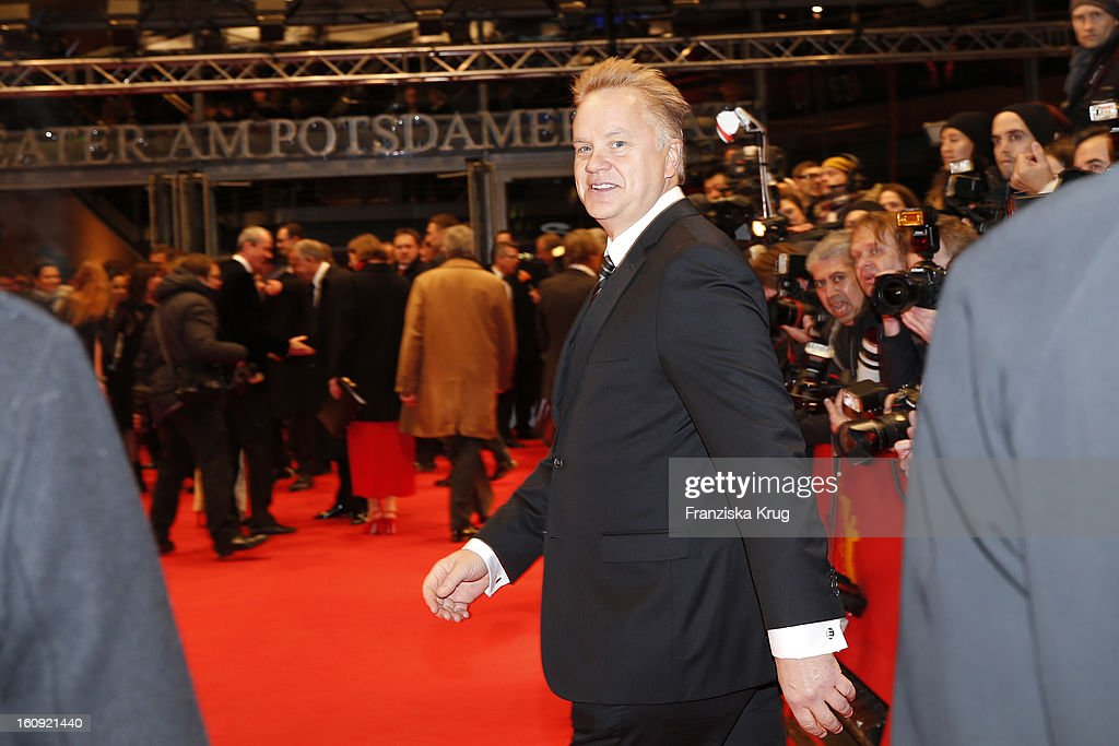 <a gi-track='captionPersonalityLinkClicked' href=/galleries/search?phrase=Tim+Robbins&family=editorial&specificpeople=182439 ng-click='$event.stopPropagation()'>Tim Robbins</a> arrives at the 'The Grandmaster' Premiere - BMW at the 63rd Berlinale International Film Festival at the Berlinale Palast on February 7, 2013 in Berlin, Germany.