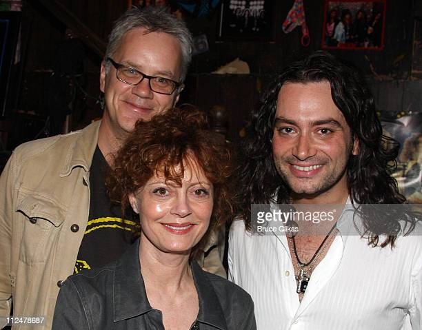 Tim Robbins Susan Sarandon and Constantine Maroulis backstage at the rock musical 'Rock of Ages' on Broadway at The Brooks Atkinson Theater on May 24...