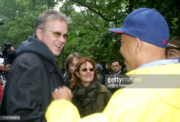 Tim Robbins Susan Sarandon and Russell Simmons during The New York City Hip Hop Summit Rally for the Repeal of the Rockefeller Drug Laws at City Hall...