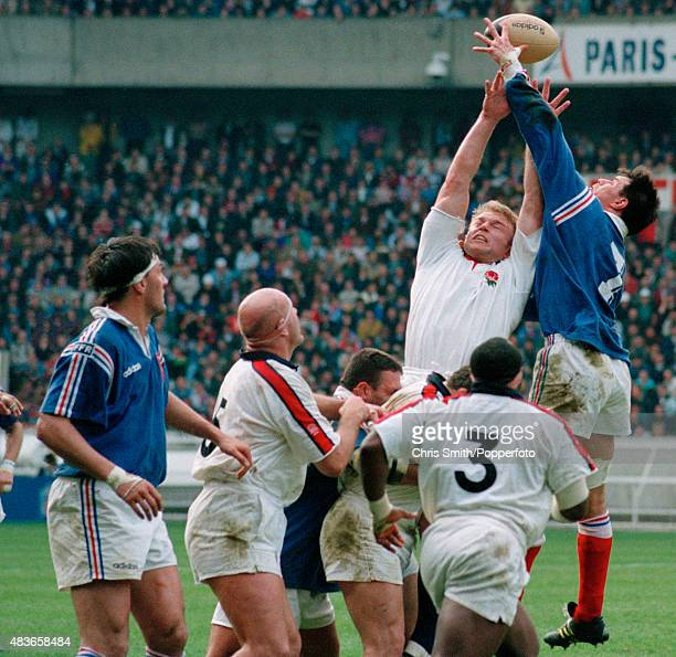 Tim Rodber of England competing in a lineout with Laurent Cabannes of France during the Rugby Union International between France and England at the...