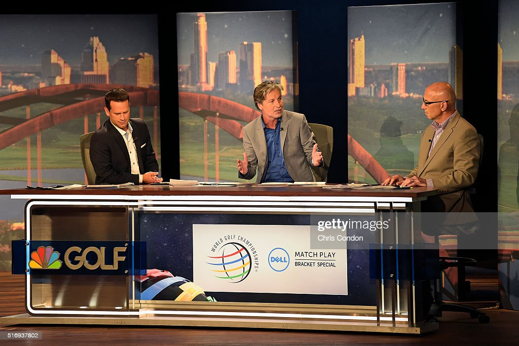 Tim Rosaforte and <a gi-track='captionPersonalityLinkClicked' href=/galleries/search?phrase=Brandel+Chamblee&family=editorial&specificpeople=3431577 ng-click='$event.stopPropagation()'>Brandel Chamblee</a> discuss the draw during the live broadcast of the Dell Match Play Bracket Special at the Paramount Theater prior to the World Golf Championships - Dell Match Play at Austin Country Club on March 21, 2016 in Austin, Texas.