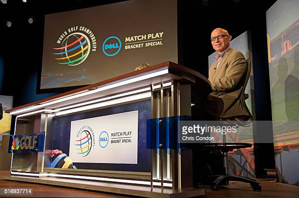Tim Rosaforte waits to start the show during the live broadcast of the Dell Match Play Bracket Special at the Paramount Theater prior to the World...